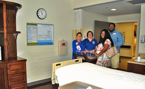 "First-time parents-to-be Christiana De Silva and Devonte Lee tour BRG's Birth Center, asking nurses about skin-to-skin time (Christiana) and exactly where to come when the big day arrives (Devonte). Both commented that they ""felt relieved and excited"" after seeing where their baby will be born."